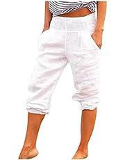 Vectr y Damer Capri-byxor 7/8 byxor enfärgade fritidsbyxor sommarbyxor mode fickbyxor joggingbyxor sportbyxor