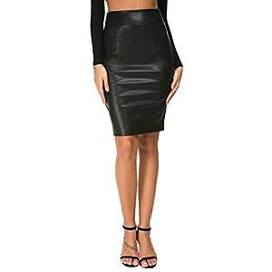 Womens Faux Leather Pencil Skirt Slim Fit Elegant High Waist Midi Bodycon Office Skirts 15