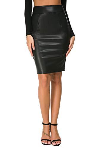 Womens Faux Leather Pencil Skirt Slim Fit Elegant High Waist Midi Bodycon Office Skirts Black