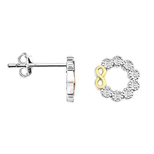 SOFIA MILANI - Pendientes de mujer de plata 925 - con piedras de circonita - Pendientes de flores bicolor - 20917