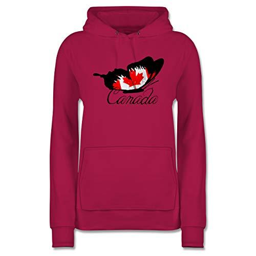 Länder - Schmetterling Canada - S - Fuchsia - Canada Hoodies - JH001F - Damen Hoodie und Kapuzenpullover für Frauen