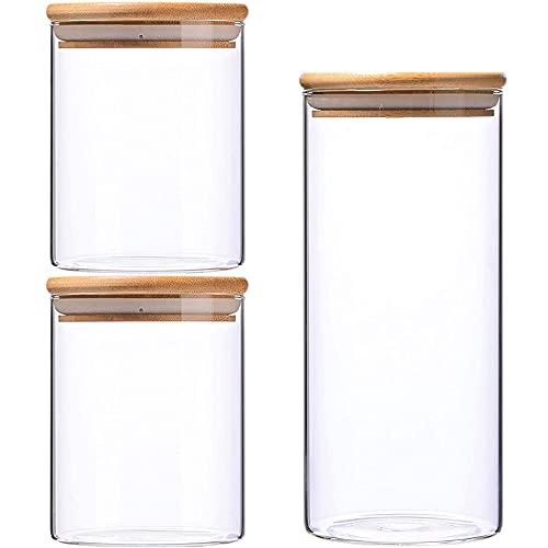 3 Piezas Frascos de Almacenamiento con Tapa, Conservas de Vidrio, Bote de Vidrio...