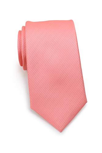 schmal/schmale Krawatte in dezenter Linien-Struktur │ 7cm slim Tie (Krawatten, Binder, Schlips) │einfarbig/uni in: Rot (Koralle)