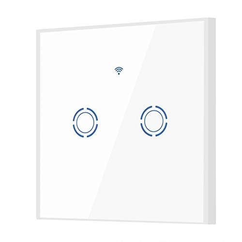 Interruptor táctil ignífugo ABS Interruptor táctil WiFi Altamente Sensible para Alexa Retroiluminación LED 22 Idiomas(2 Way)
