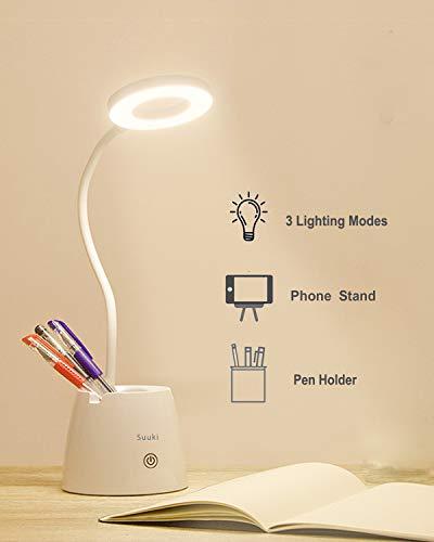 Flexo LED Escritorio, Suuki Lámpara de Protección Ocular con Portalápices, Lámparas de Mesa USB Recargables Regulables-2000mAh Plegable Luz(3 Modos de luz, 3Niveles de Brillo)