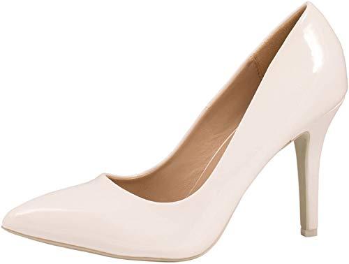 Elara Spitz Damen Pumps Stiletto High Heels Chunkyrayan JA70-Weiss-40
