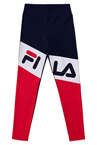Fila Heritage Girls Athletic Stretch Jersey Legging with Color Blocking Kids Clothes (Large, Navy)