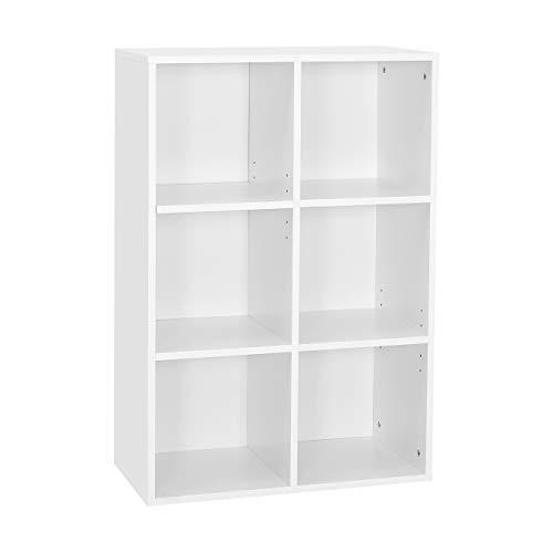 Meerveil Bücherregal, Bücherschrank mit 6 Fächer, Regal aus Holz, Aufbewahrungsschrank für Bücher und DVDs, Dreischichtiges Aufbewahrungsregal, Weiß