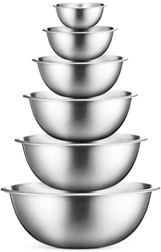 Stainless Steel Mixing Bowls (Set of 6) Nesting Bowls, Great for Cooking, Baking, Prepping
