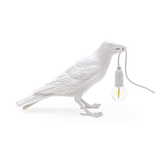 Basage Lámpara de Pájaro Luz Led Decoración de la Mesa del Hogar Lámpara de Escritorio de Pájaro Muebles de Animal de Pájaro Sala de Estar Dormitorio Luz de Noche-Blanco
