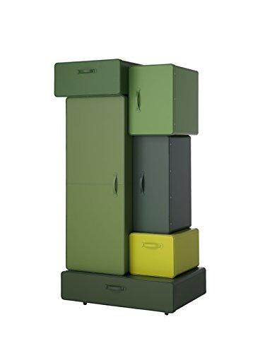 L'Aquila Design Arredamenti Casamania - Mueble armario Valises con estructura de cuero degradado verde