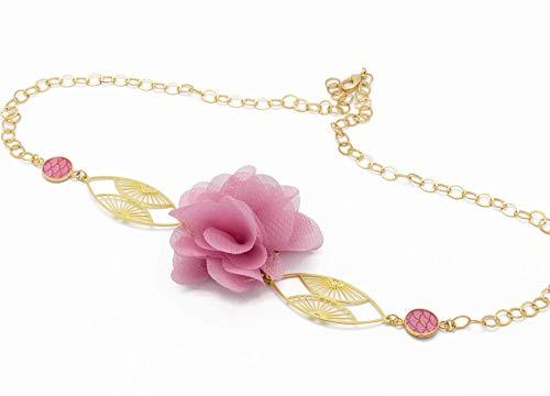 Diadema ajustable abanico de flores Japón retro flor de seda latón d