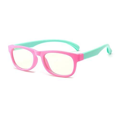 Vocono Kinder-Brille mit blauem Licht, TPEE, flexibler Brillenrahmen, Anti-Augenbelastung, Computerspiel-Brille, Alter 3–10 Jahre Gr. One size, rose