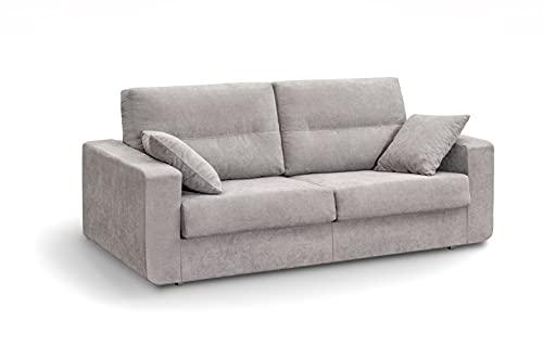 MUEBLIX.COM | Sofa Cama Italiano BOLONIA | Sofas de Salón Modernos | Asientos y Respaldo Espuma | Sofa Tapizado en Tela y Armazon de Madera de Pino | Color Antracita