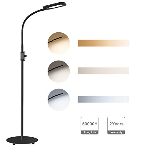 AUKEY LED Stehlampe, 3 Farbtemperaturen & Dimmbare Helligkeitsstufen, Augenschonende Moderne Standleuchte für Wohnzimmer, Schlafzimmer und Büro, schwarz