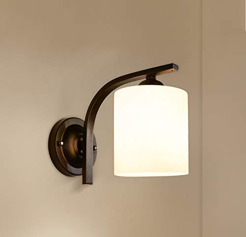ZSAIMD LED personnalité créative chambre lampe de chevet lampe de mur rétro en fer forgé salon couloir lampe étude Corridor nordique simple lampe de mur E27 support de lampe (Color : Warm light)