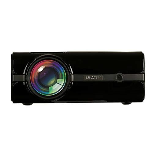MmanuuFfacturer Sjibol Pantalla LED U45 sincronización móvil de Pantalla 1080P HD Mini proyector con Control Remoto, compatibilidad con USB/SD/HDMI/VGA/AV (Color : Black)