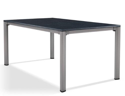 Sieger 1780-50 Exclusiv-Tisch mit Puroplan-Platte 165 x 95 cm, Aluminium-Gestell graphit,Tischplatte Schieferdekor anthrazit