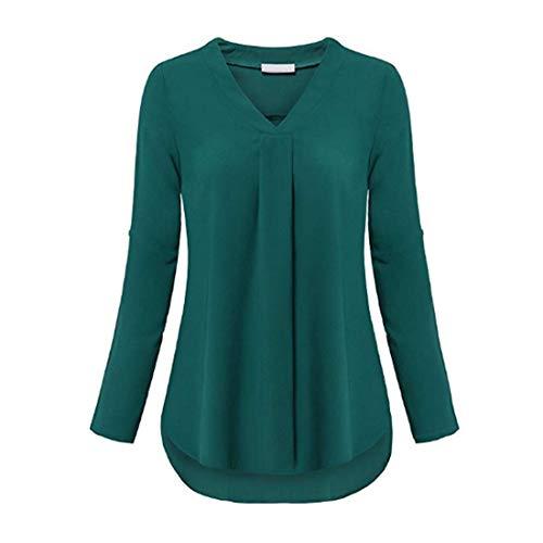 Zytyeu Women Shirt Women Blouses V-Neck Sexy Chiffon Slim Women Tops Long Sleeved All-Match Pure Color Minimalism Temperament Women Tops Green. XL