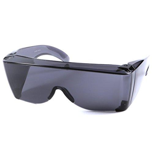 Extra große Über-Sonnenbrille Gläser Polycarbonat UV-Schutz Rauchschwarze Gläser Tragen über Rezeptbrillen