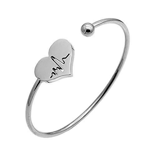 AILUOR Enfermera Pulsera-Latido del corazón de Plata Ajustable de Las Mujeres de Plata Pulsera Brazalete de corazón Abierto Gemelos de Oro