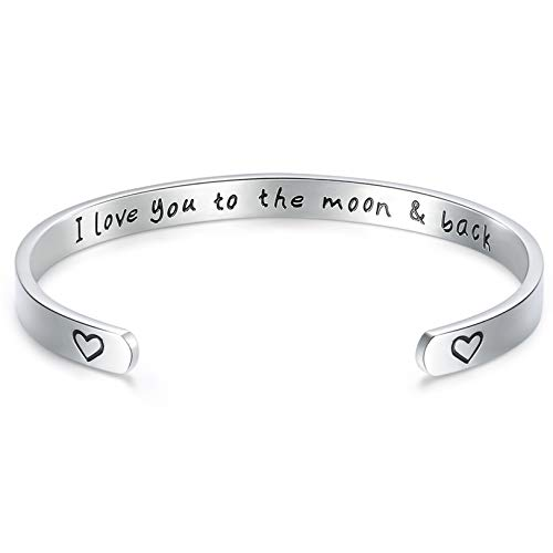 CERSLIMO Mom Gifts Mother Daughter Bracelet I Love You to the Moon and Back Bracelet Cuff Bangle Thanksgiving Birthday Mother of Bride Gifts for Women