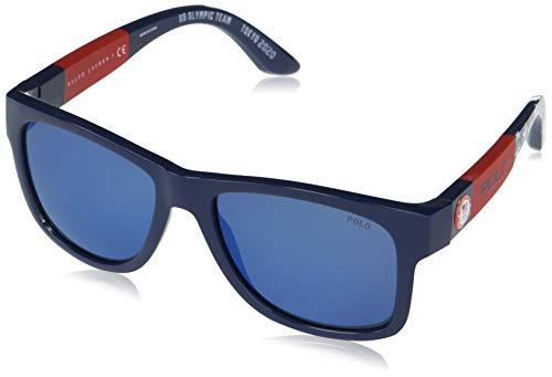 Polo Ralph Lauren Ph4162 - anteojos de sol cuadradas para hombre, Espejo azul/azul., 54 mm