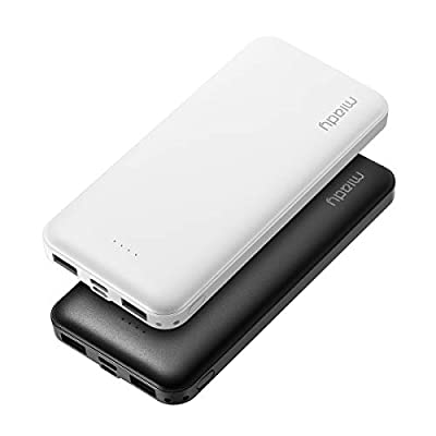 2-Pack Miady 10000mAh Dual USB Portable Charger, Fast Charging Power Bank with USB C Input, Backup Charger for iPhone X, Galaxy S9, Pixel 3 and etc …
