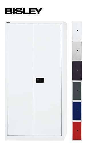 BISLEY Aktenschrank | Werkzeugschrank | Flügeltürenschrank aus Metall abschließbar inkl. 4 Einlegeböden | Stahlschrank in weiß
