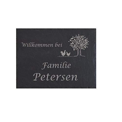 Türschild Familie Namensschild Schiefer Gravur Klingelschild Wohnen Wand Haustürschild Eingang schwarz grau personalisiert