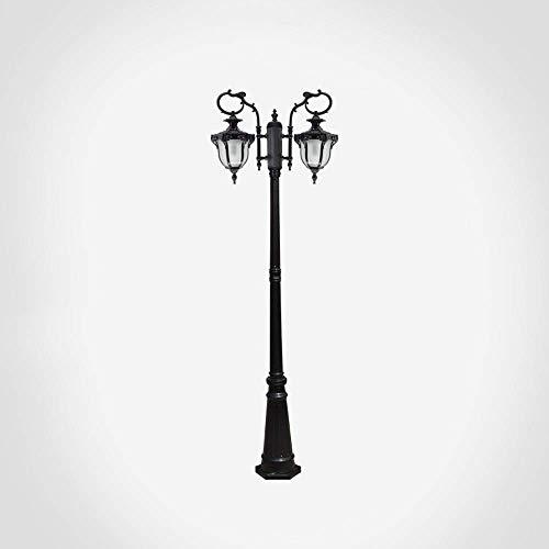 IUHUA Lámpara de Carretera de Poste Alto 2 Luces IP55 Lámpara de Exterior Impermeable Lámpara de Pilar comunitario Lámpara de pie de césped Exterior de 2 Cabezas