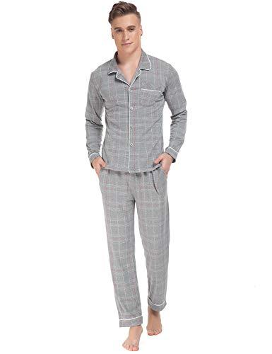ARBLOVE Klassisch Schlafanzug Herren Pyjama Lang Baumwolle Winter Streifen Zweiteilige Nachtwäsche Langarm Shirt und Pyjamahose mit V-Ausschnitt und Knopfleiste-Design