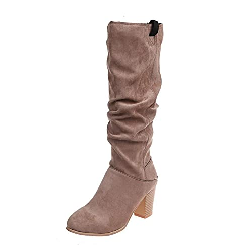 Suede Knee High Boots for Women Chunky Heel: Winter Retro Pull-On Long Boots Motorcycle Combat Heels Shoes ,e13 Beige