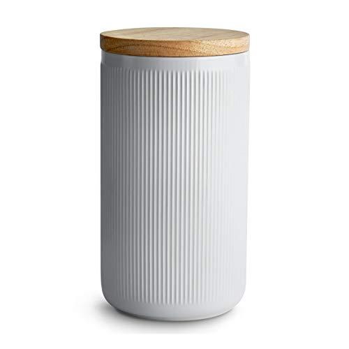 Keramik Vorratsdosen mit Holzdeckel Stripes, Luftdichter Kautschukholz-Deckel, Aufbewahrungsdosen, Frischhaltedosen - 10,1 x 18,3 cm hellgrau/weiß