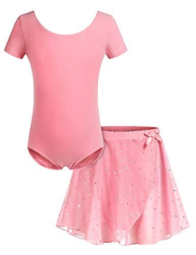 Bricnat Mädchen Ballettkleidung Ballettkleid Tanzbody Gymnastikanzug Balletttrikot Kurzarm Tanzkleid mit Tütü Kinder Baumwolle Dunkelrosa 130