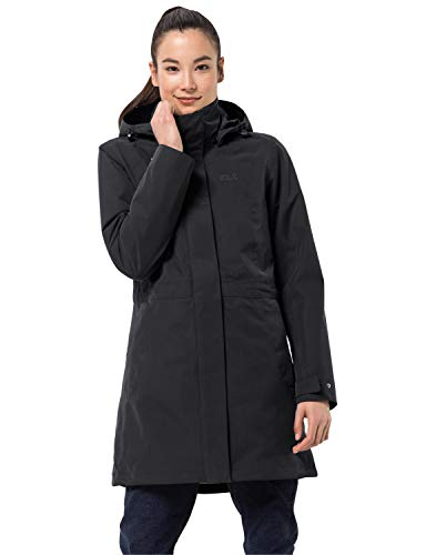 Jack Wolfskin Damen OTTAWA COAT wasserdichter 3in1 Mantel, Black, M