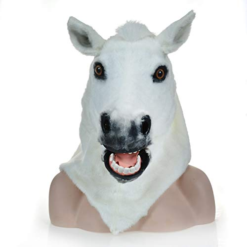 WINPSHENG-máscara para Adultos Fábrica Divect Venta Furred Fauna Carnival Mover la Boca máscara máscaras Caballo Blanco (Color : White)