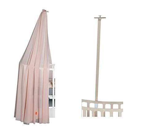 Leander Cadre de lit blanc pour lit de bébé Leander + ciel de lit (voile) doux rose