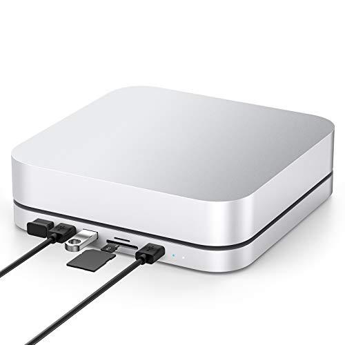 Elecife USB Typ C Hub mit Festplattengehäuse, 7 in 1 Dockingstation für Mac Mini Zubehör mit SATA SSD/HDD Slot, Dual USB 3.0/2.0 Port, TF/SD Kartenleser, kompatibel mit Mac Mini 2018/2020