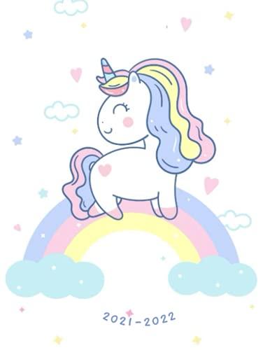 2021-2022: Week-View UK Academic Planner 2021-2022 / School Diary / 17x22cm / Cute Kawaii Unicorn on a Rainbow
