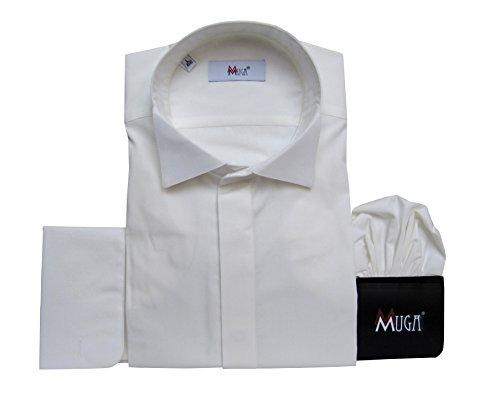 MMUGA Smokinghemd Kläppchenkragen Herren Hemd Creme 3XL