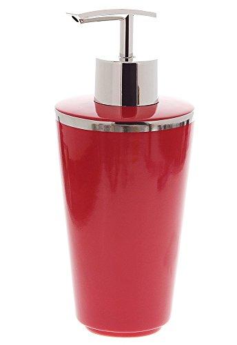 Kosmetex Seifenspender Porzellan, Rot mit Silber-Rand (Platin) Rosso Bad Accessoires Lotionspender, Seifenspender