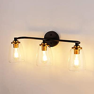 3-Light Industrial Bathroom Vanity Light Hardwire Industrial Cage Wall Sconce, Vintage Edison Wall Lamp Light Fixture for Bathroom, Dressing Table, Vanity Table (3-Glass lamp Shade)