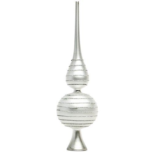 Sikora SP2S Klassische Christbaumspitze aus Glas mit Glitterdekor - Silber/H:29cm