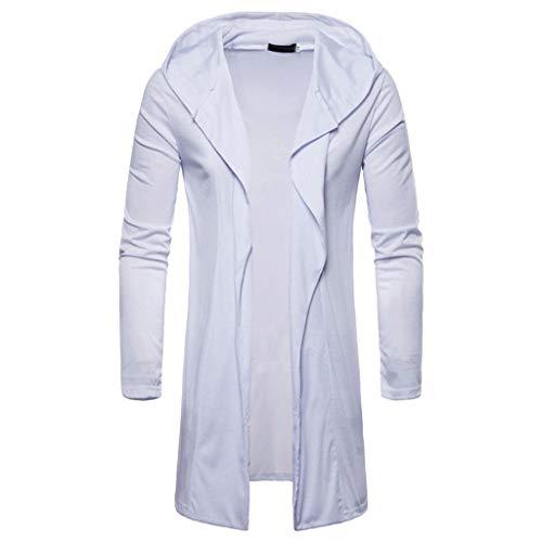 Reooly Abrigo de Rebeca de Manga Larga con Capucha de Color Liso para Hombre de Moda(C-Blanco,XX-Large)