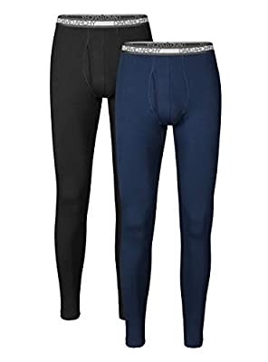 DAVID ARCHY Men's Winter Warm Stretchy Cotton Fleece Lined Base Layer Pants Thermal Bottoms Long Johns with Fly 2 Pack (L, Black/Navy Blue)