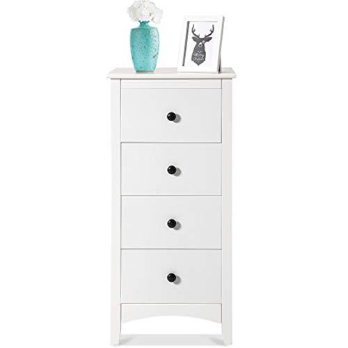 Weiß Kommode Schrank Schubladenschrank Holz Beistelltisch Sideboard mit 4 Schublade Schubladenkommode für Wohnzimmer Schlafzimmer, 45 x 45 x 94 cm (Weiß)