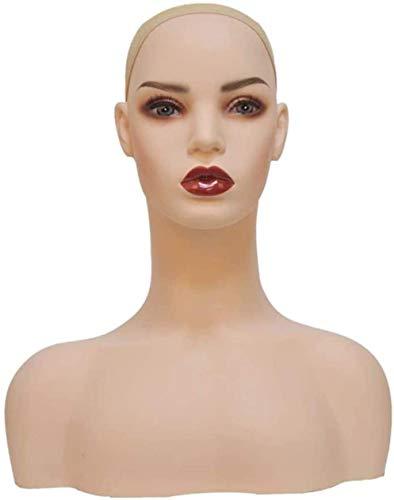 LZCMN Maniquí de Costura Ajustable Cabeza simulada con Hombros Maniquí Femenino Tono de Piel pálido Realista para Sombreros, Pelucas y Bufandas Soporte de exhibición Maniqui Costura