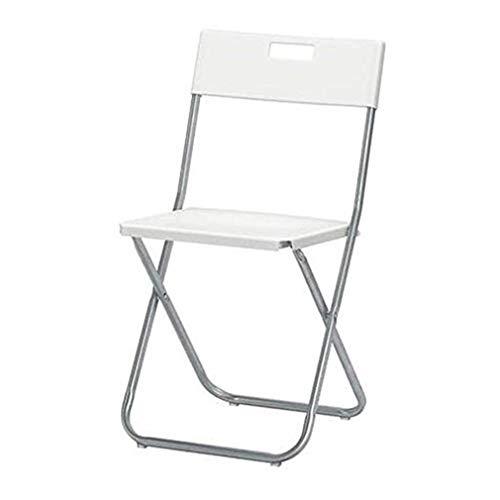 wuzhengzhijia Kunststoff Klappstuhl tragbarer Bürostuhl mit Rohrgriff zum Aufhängen an der Wand Um Platz zu sparen, 41 * 45 * 78cm - Weiß/Schwarz - Zwei Loaded (Color : White, Size : Two Loaded)