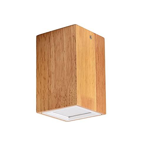 AOKARLIA Downlight LED Techo Superficie Madera Focos Luces de Techo, Moderno Pequeña Luz de Techo para Sala de Estar Cuarto Cocina,Square~15cm,Warm Light 3W